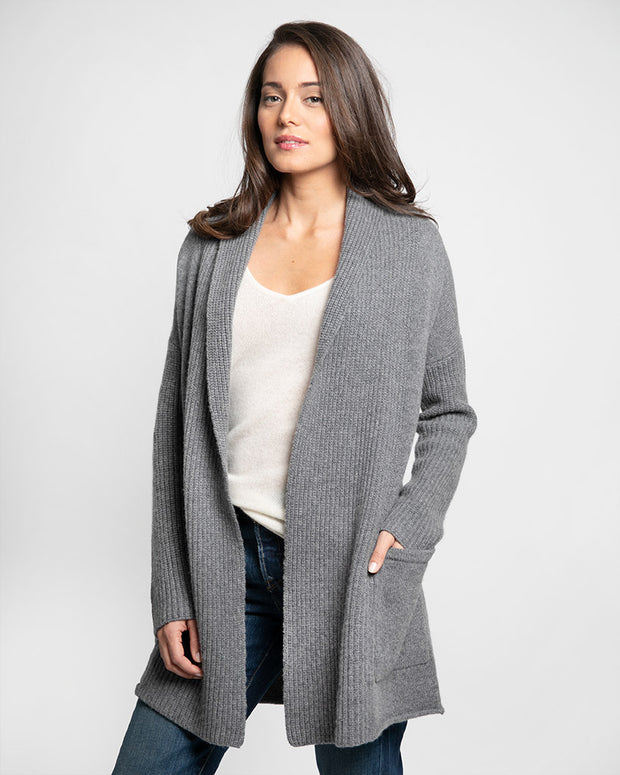 Loose Fitting, Soft, Cashmere Cardigan with large pockets