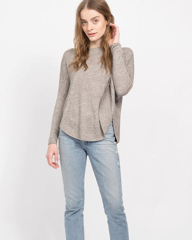 Cashmere Linen Scoop Hem Sweater