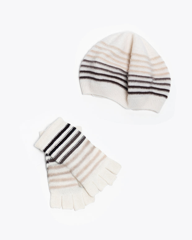 The Patricia Ombre Striped Hat & Glove Set