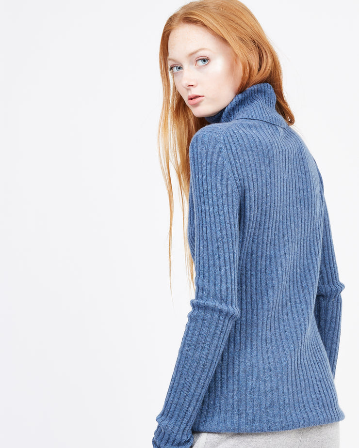 Blue turtleneck Ribbed Women's Winter Sweater