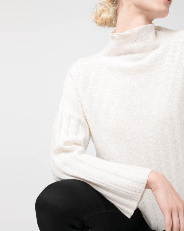Rib Pattern Funnel Neck