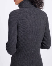 Directional Rib Cashmere Turtleneck Dress