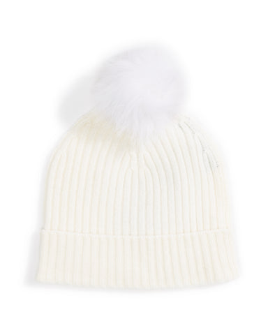 fox fur pom pom ribbed hat