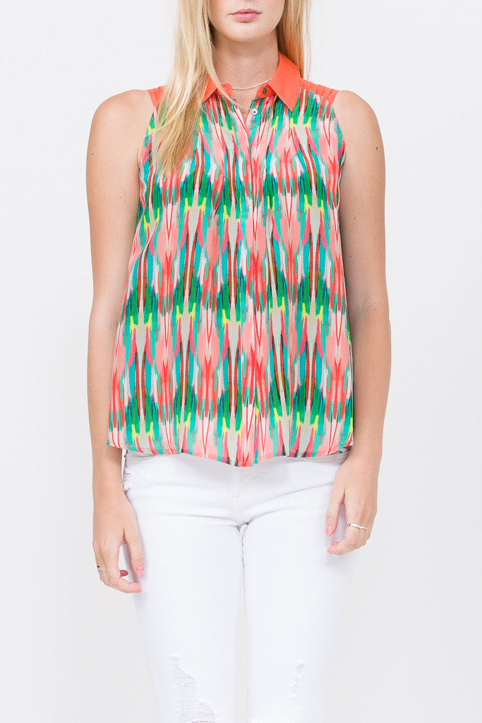 Layna Sleeveless Button Up