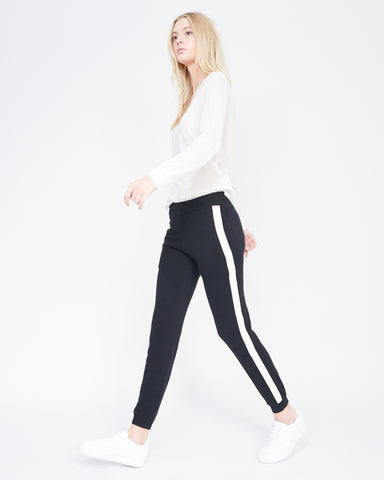 Cashmere sweatpants with leather stripe