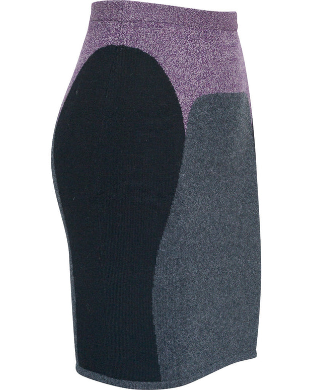 Vanessa Cashmere Color Blocked Skirt