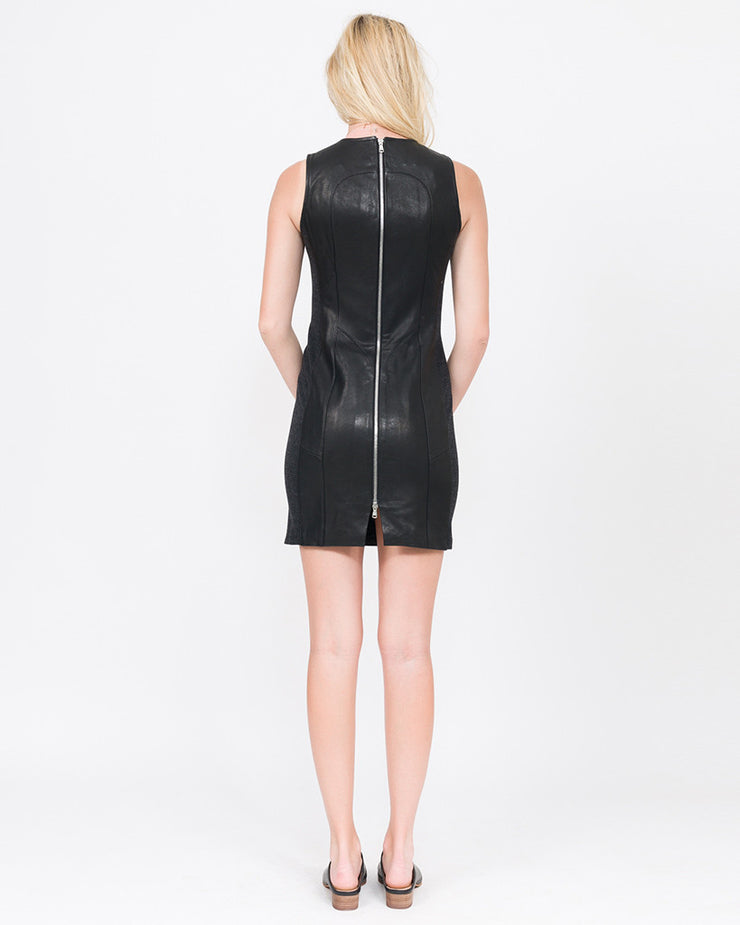 Mabel Paneled Leather Sheath Dress
