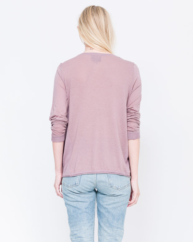 aurora pink long sleeve v neck tee