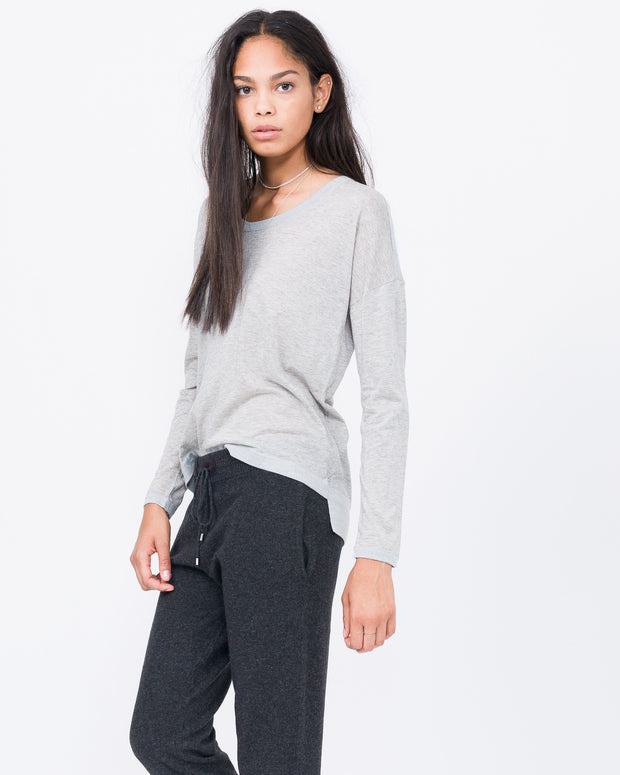 scoop neck cotton cashmere long sleeve
