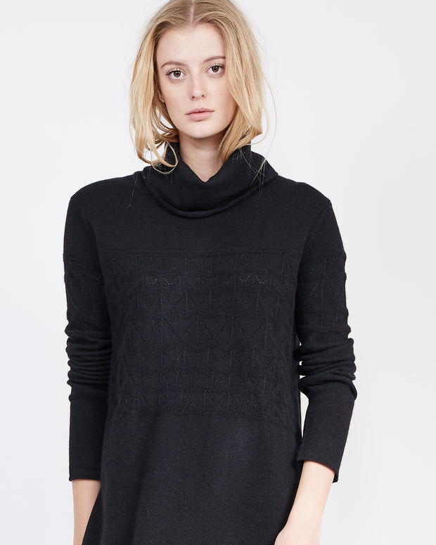 Funnel Neck Diamond Stitch Sweater