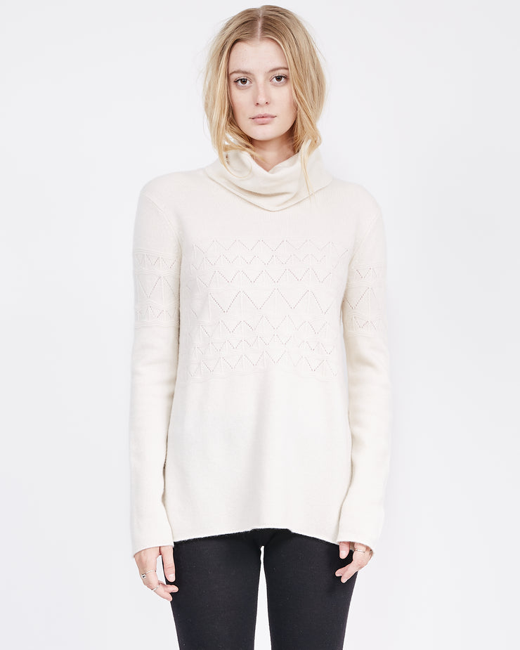 Turtle neck ivory sweater for women