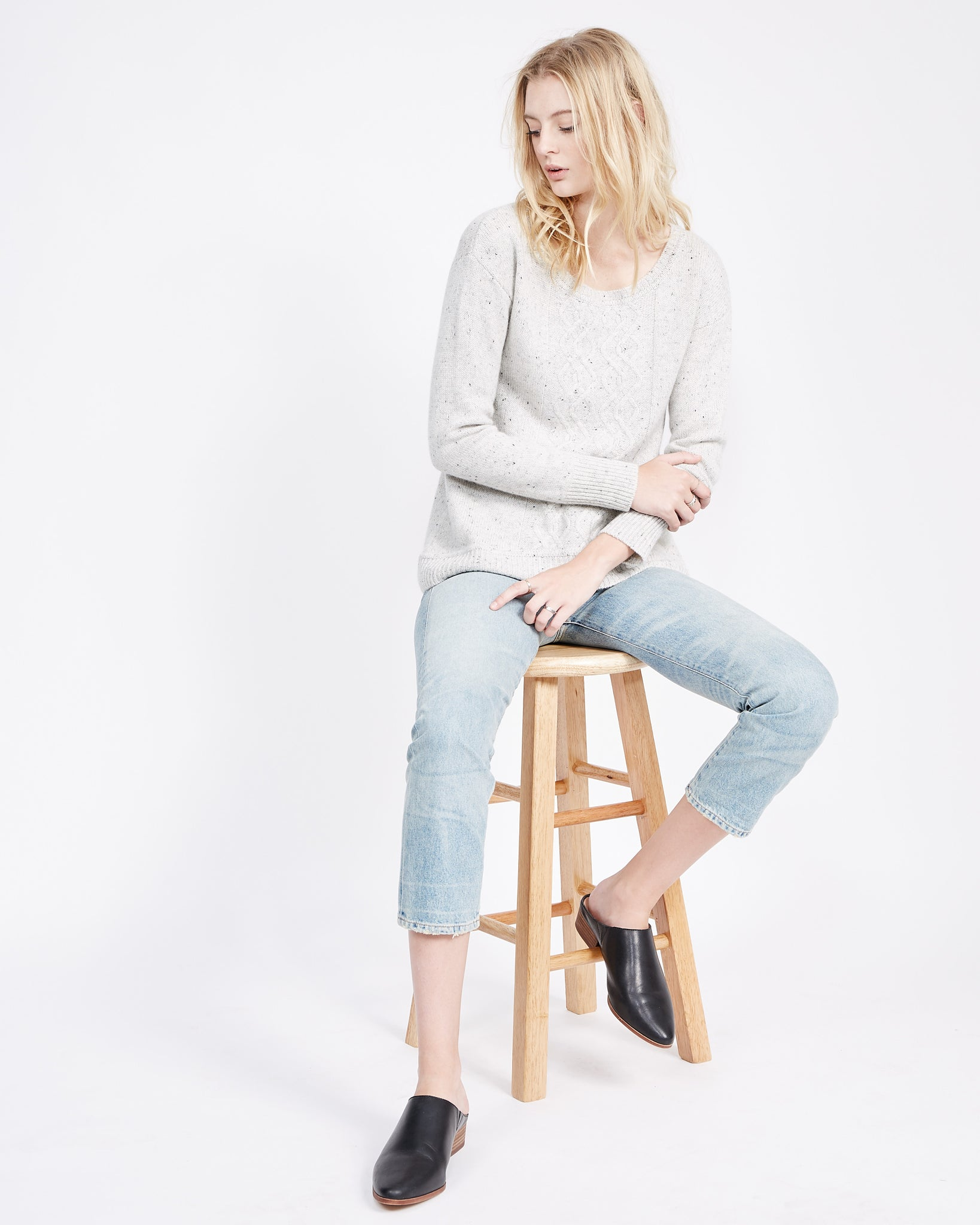 Scoop neck cable knit pullover