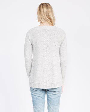 Open neck cable knit cashmere