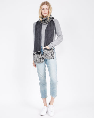Lucid Fur Blocked Scarf with Pockets