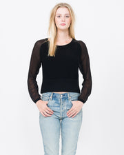 Knit Sweatshirt with silk chiffon sleeves