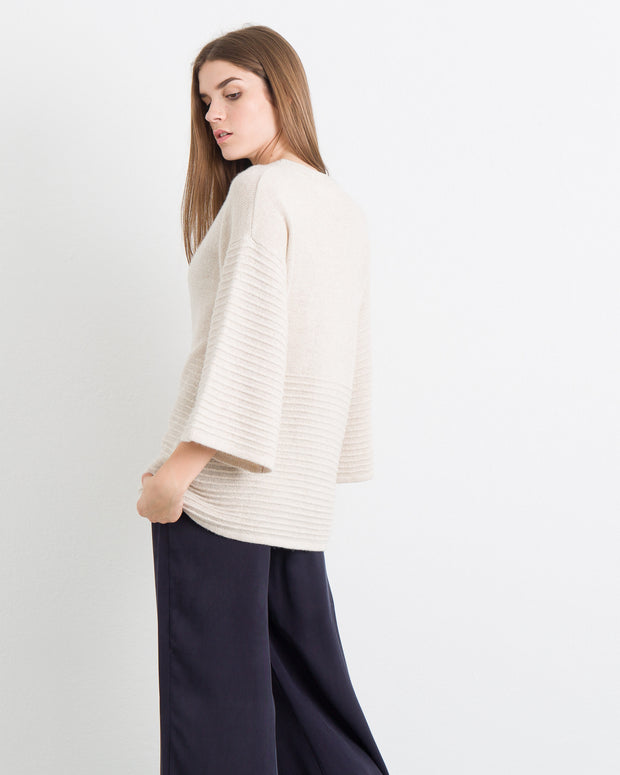 Empire Textured Keyhole Sweater