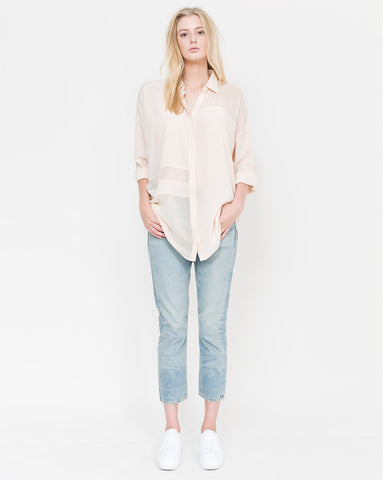 Crain Chiffon Paneled Button Down Top