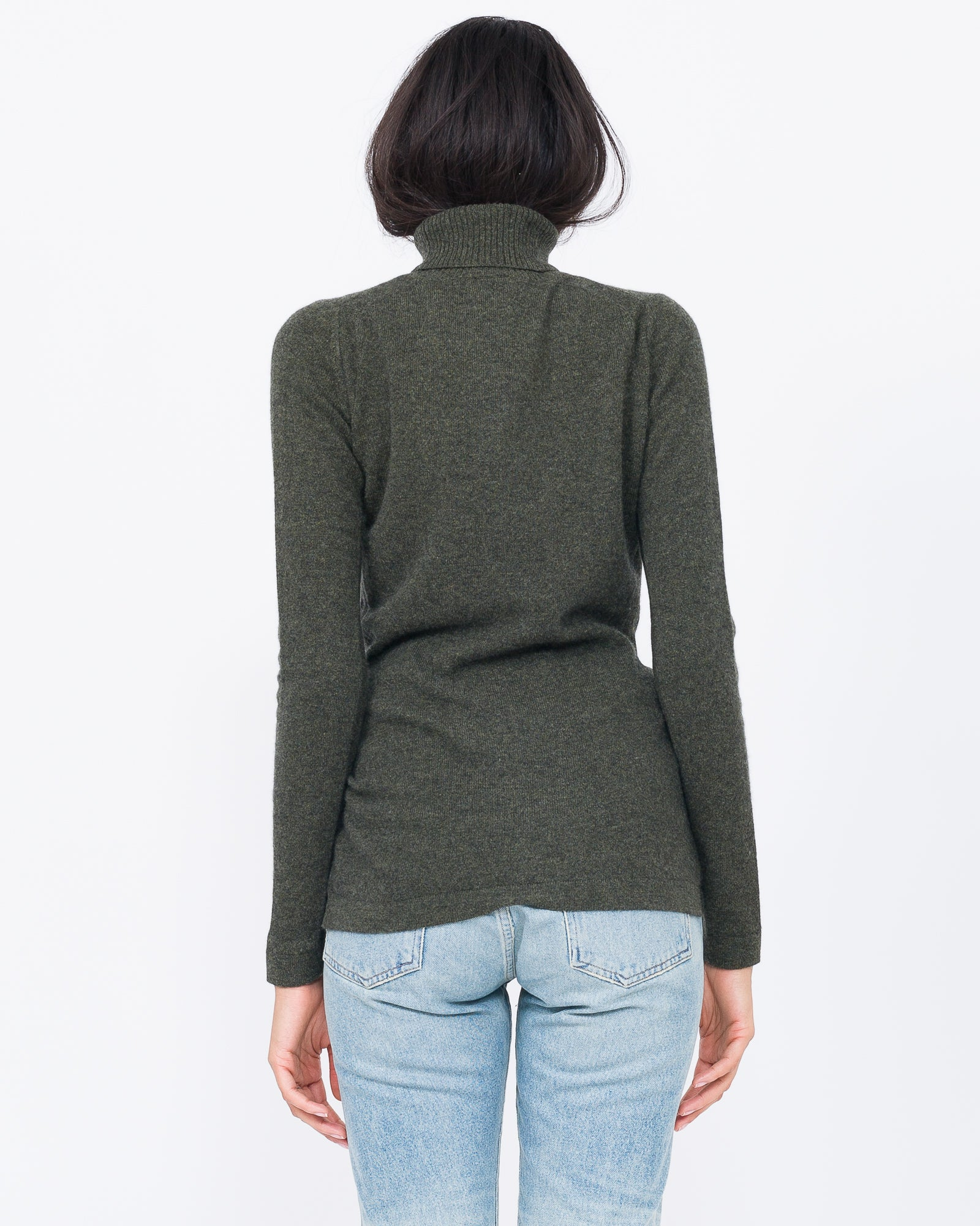 forest heather cashmere turtle neck