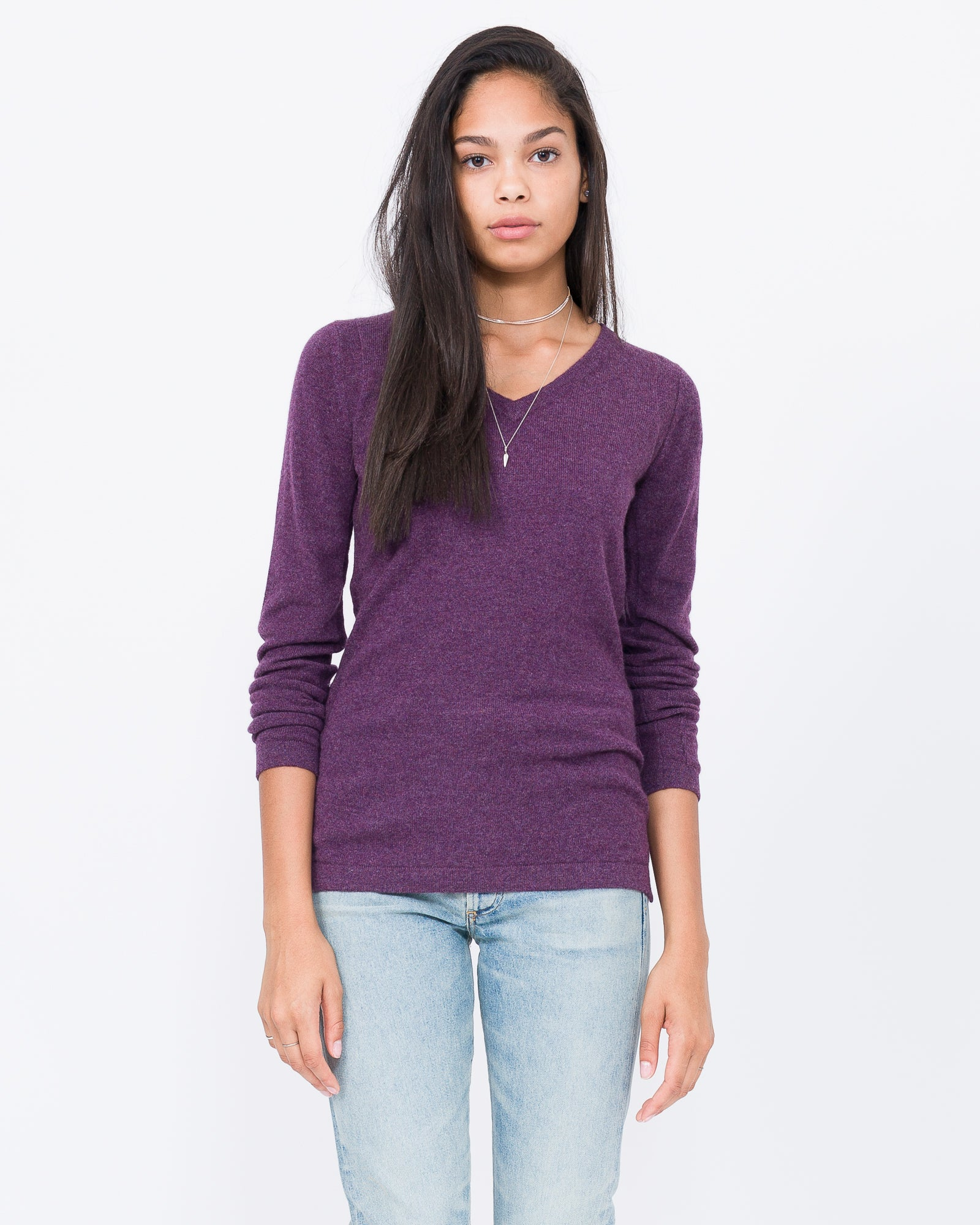100% cashmere amethyst v neck sweater