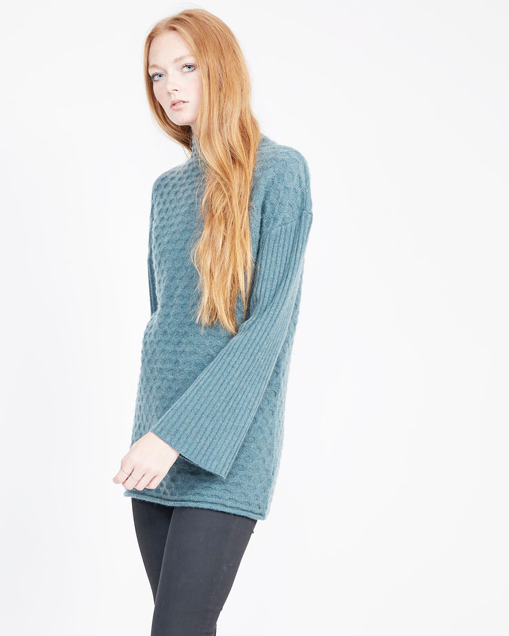 mock neck sweater with bell sleeve