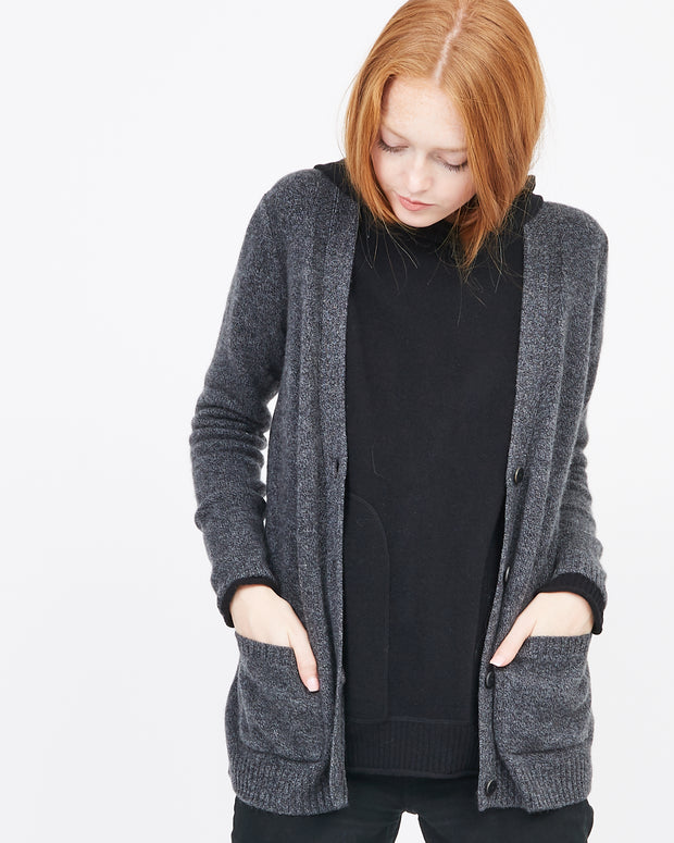 dark grey cardigan for layering