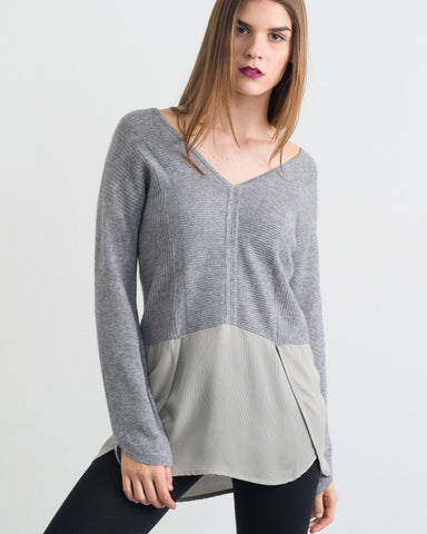 Doriana Mixed Media Double V Pullover