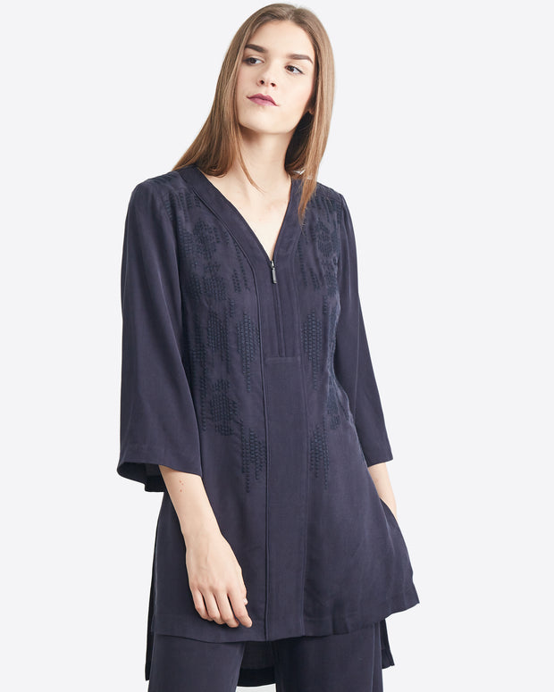 Marcia Hi-Low Embroidered Tunic