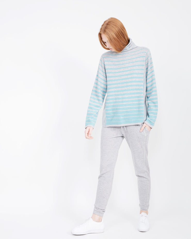 teal striped cashmere mock neck