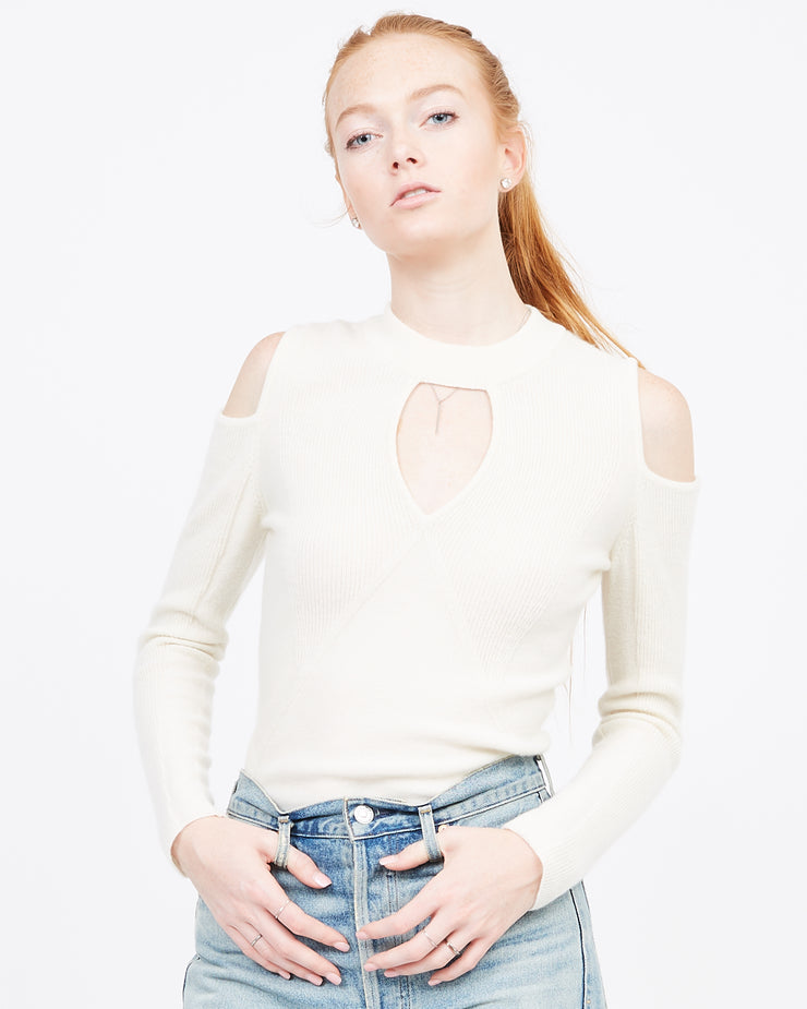 Ivory Cold Shoulder mock neck sweater
