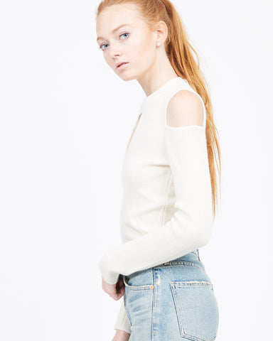 Lucille Cold Shoulder Mock Neck