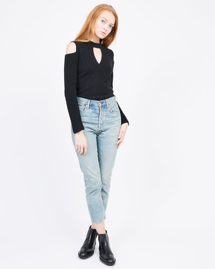 black Mock Neck Cashmere sweater