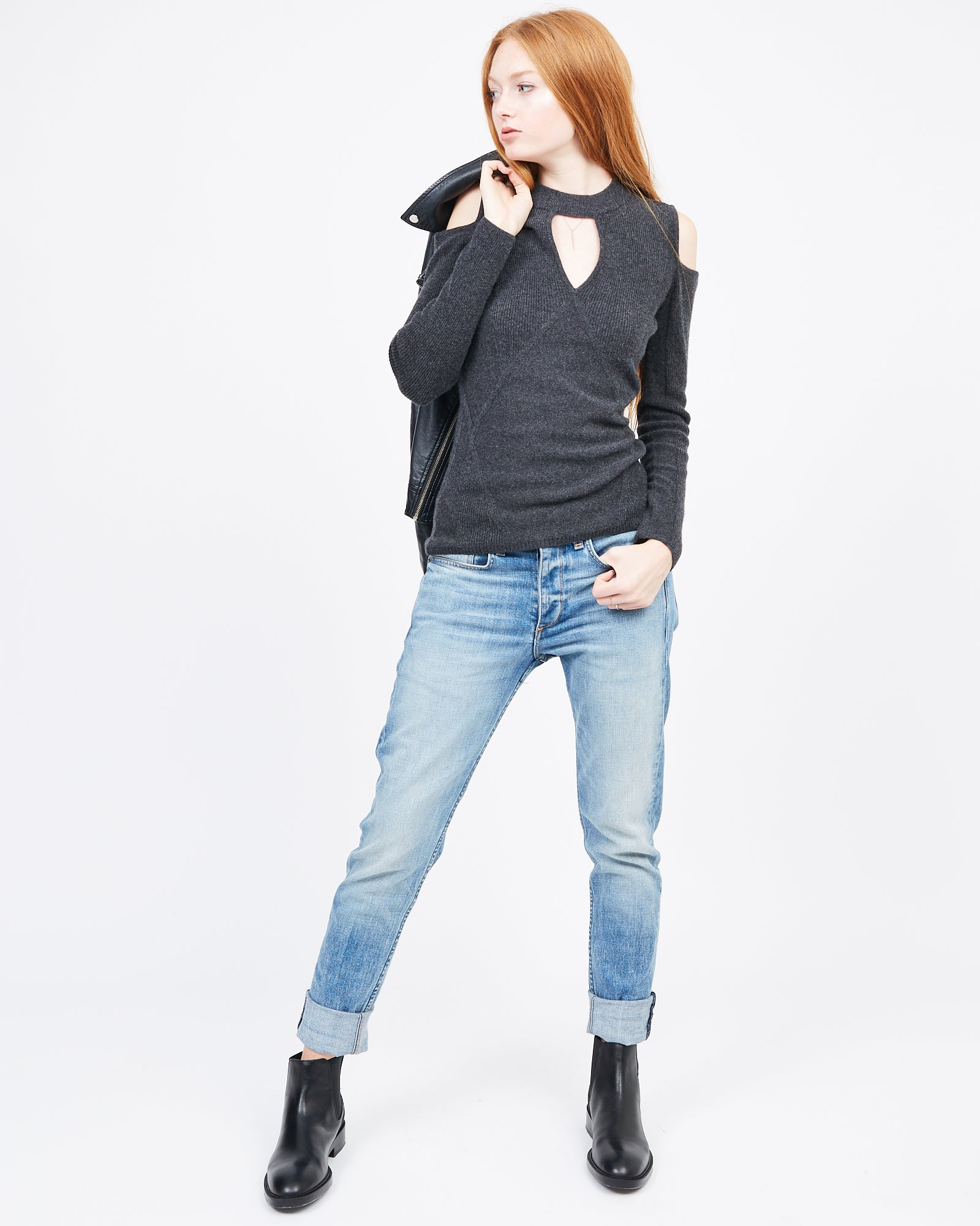 Dark Grey Cashmere Cut out sweater
