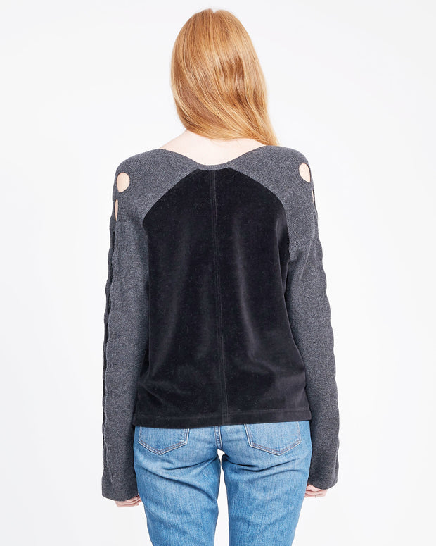mixed media sweatshirt black