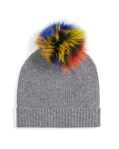 shaker stitch hat with fur pompom