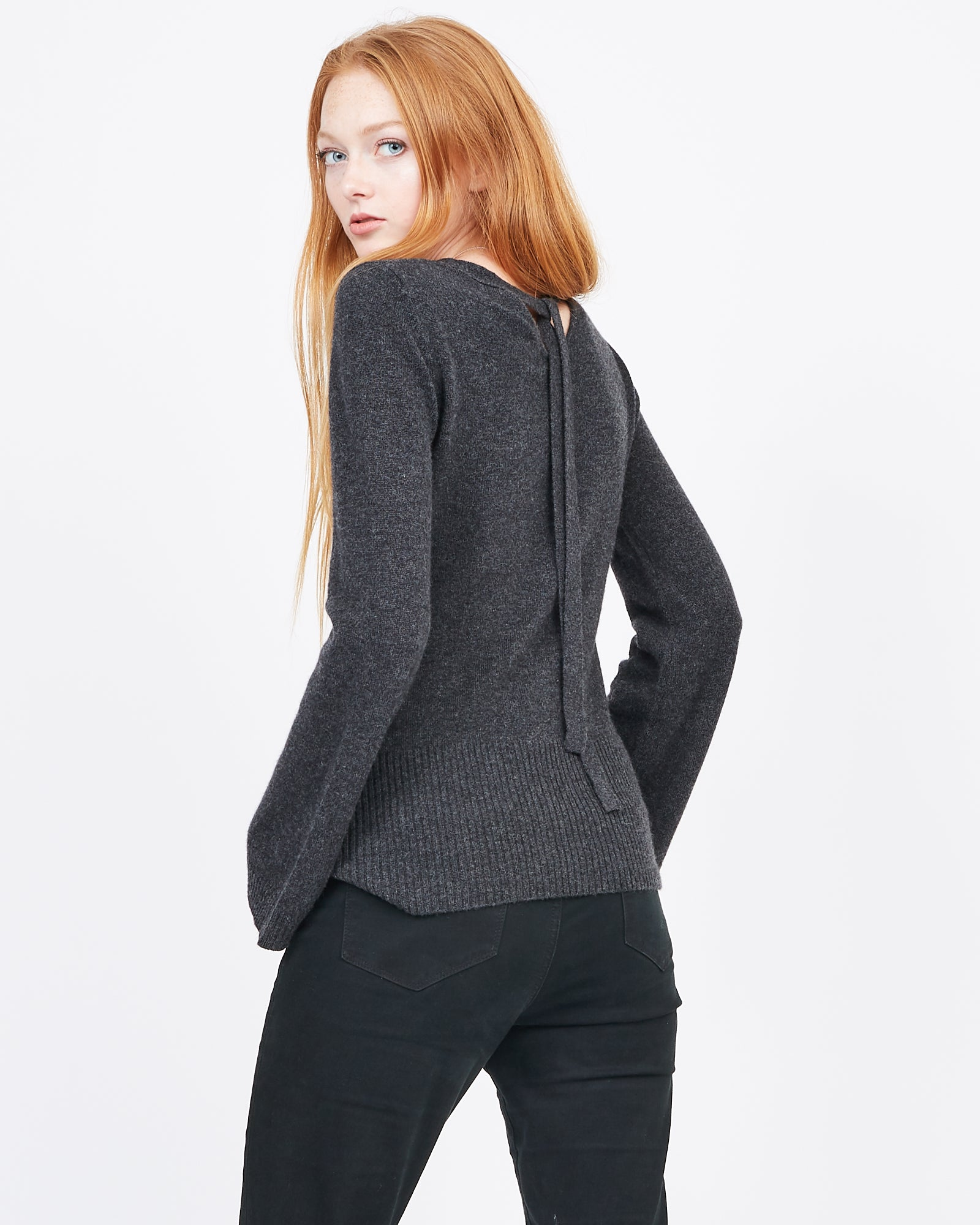 Bell Sleeved Cashmere sweater with back detail