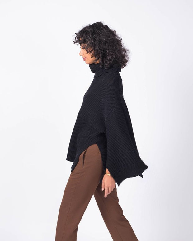 Directional Rib Turtleneck Poncho