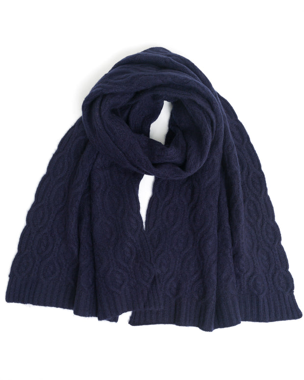 100% cashmere cable knit scarf
