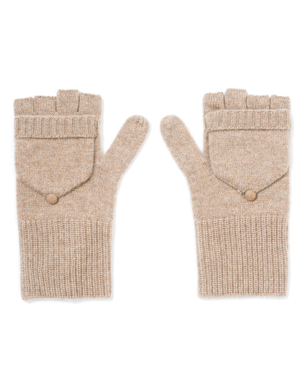 cashmere ribbed mittens