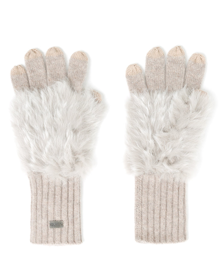 cashmere rabbit fur ribbed gloves