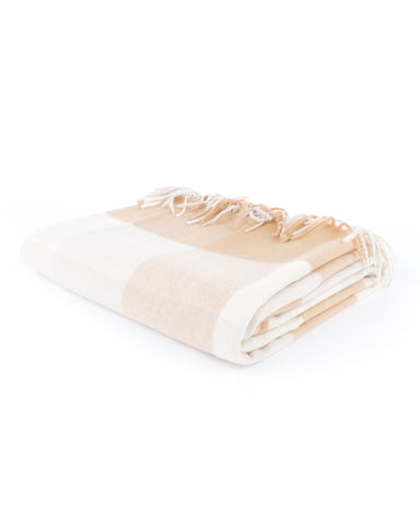 Camel Box Plaid Cashmere Blanket