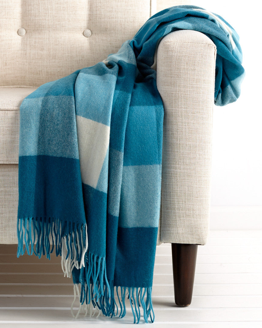 HOME - Teal Box Plaid Cashmere Blanket