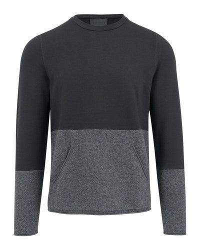 MEN - Musk Mixed Media Crewneck With Kangaroo Pocket