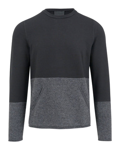 Musk Mixed Media Crewneck with Kangaroo Pocket