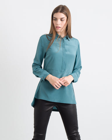 WOMEN - Cynthia Solid Paneled Button Up