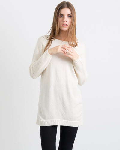 Chunky Cashmere Tunic Sweater with Stitch