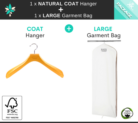 Kazzi Kovers LARGE Garment Bag + NATURAL COAT Wood Hanger