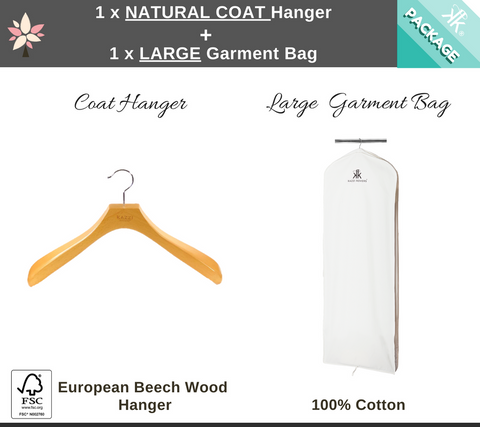 Large Garment Bag + Natural Coat Hanger