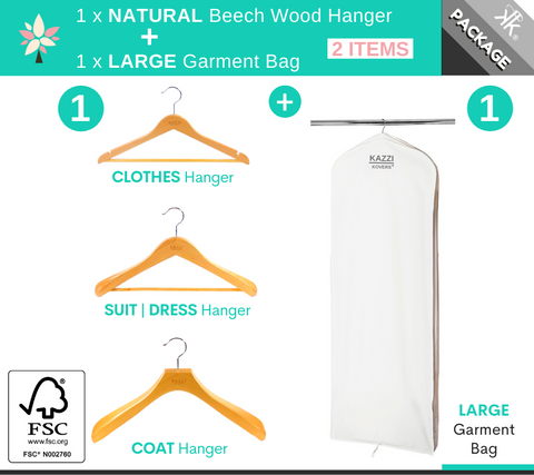Kazzi Kovers LARGE Garment Bag + NATURAL Wood Hanger