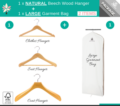 LARGE Garment Bag + NATURAL Wood Hanger Offer