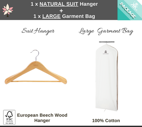 1 x Large Garment Bag + 1 x Natural Suit Hanger Package